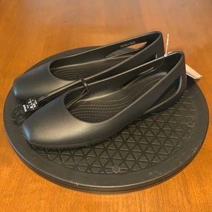 Crocs Sloane Black Flat Mary Jane Shoe Sz 5W NWT